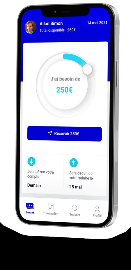 Image montrant l'application, très simple, permettant de voir son salaire en temps réel et se verser un acompte.